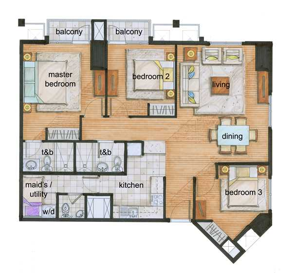 The grove by rockwell unit types floor plans the grove for 3 bedroom unit floor plans